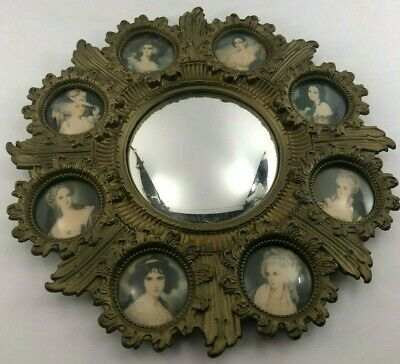 A CAMEO CREATION Convex round wall mirror w/ 8 miniature Victorian portraits MCM