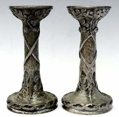 Tall Pair Of Art Nouveau/Arts & Crafts/Jugendstil Silvered Bronze Candlesticks