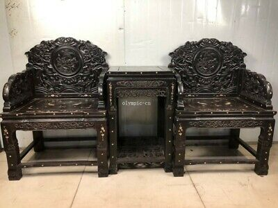 furniture A set of red rosewood handwork inlay shell carved lotus table chair