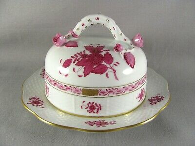 """Herend Chinese Bouquet Raspberry Round Cheese Dish, 7-1/2"""", Apponyi, 390"""