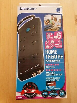 BRAND NEW - Jackson 6 Outlet Surge Protected Home Theatre Powerboard