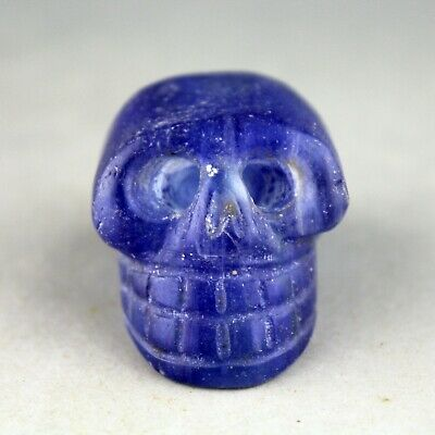 1.7'' China blue stone Chinese hand-carved ancient Skull statue 1266