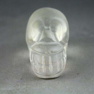 2.2'' China old white agate Chinese hand-carved ancient Skull statue 0929