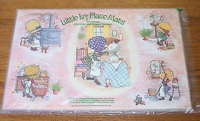 """Vintage """"Little Ivy"""" Holly Hobbie Look Set of (4) Placemats w/ Raggedy Ann   NEW"""