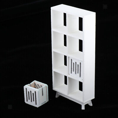 Modern Wooden Bookshelf with Drawer for 1/12 Dollhouse Miniature Toy White