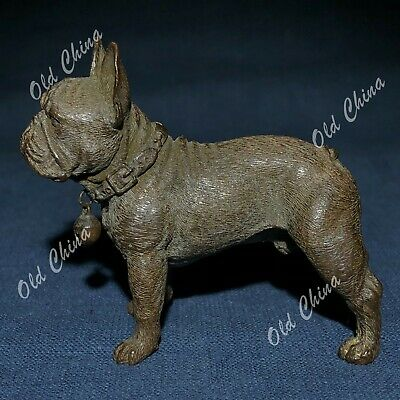 Chinese Antique Solid Copper Pure Handwork Dog Pitbull Collectible Old Statue