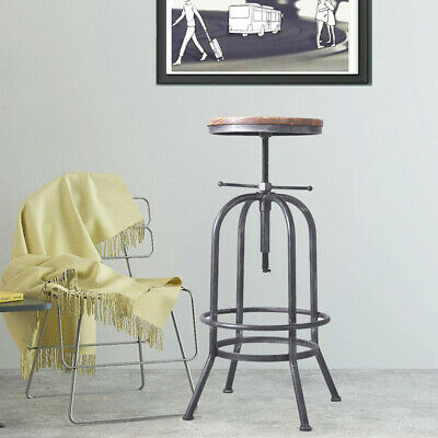 Adjustable Vintage Bar Stool Metal Wooden Industrial Retro Seat Kitchen Chair
