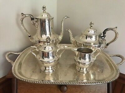 Christmas Tea Time SILVER PLATE POOLE 1030 COFFEE & TEAPOT CREAMER & SUGAR TRAY