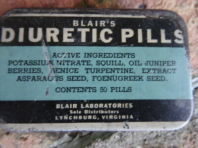 Vintage Medicine  Blair's Diuretic Pills Tin -Lynchburg, Virg.