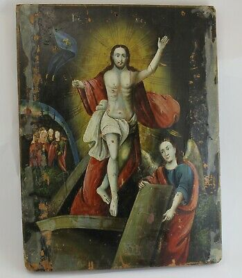 Antique XIX Orthodox Russian wooden painted  Resurrection of Christ icon