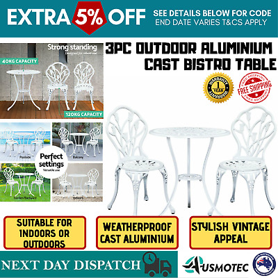 3 Pcs Garden Table And Chair Bistro Outdoor Dining Elegant White Set Cast Iron