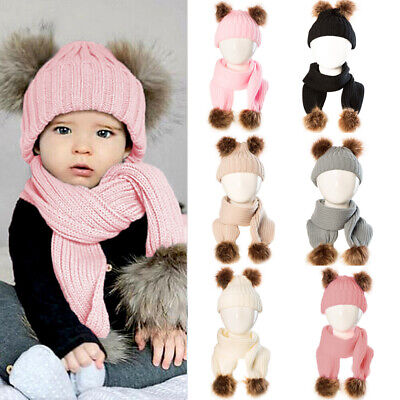 Kids Baby Pom Pom Hat Bobble Beanie Scarves Double Knitted Boy Girl Infant UK