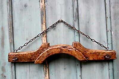 Antique Old French Oak Wooden Vintage Farming Yoke Rustic Wall with iron hooks