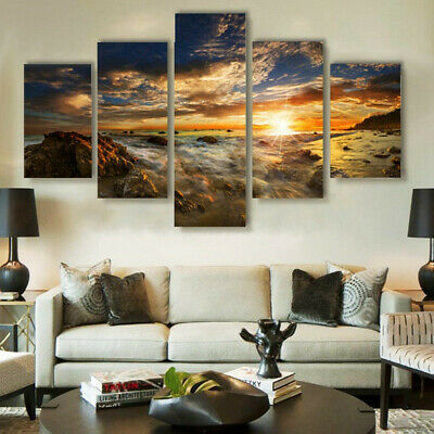 5PCS Unframed Sunrise Modern Wall Oil Painting Picture Canvas Print Home Decor ❤