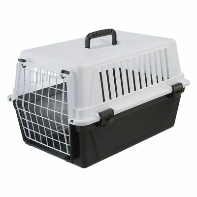 Pet Carrier Cats Dogs Small Animals Black & White Plastic Transport Box Crate