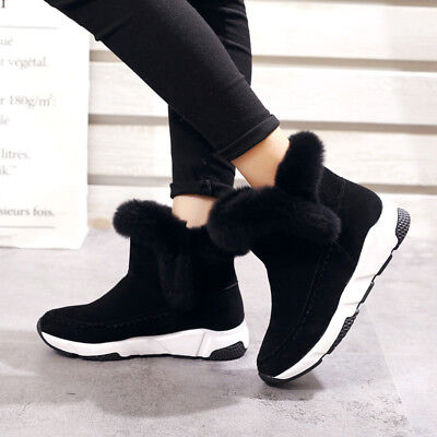 Women Flat Shoes Warm snow boots Winter Faux Fur Lined Snow Boots Sneaker