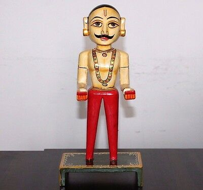 Indian Handicraft Antique Beautiful Style Handmade Painted Wooden Men Statue#298