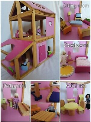 Pink & White Big Wooden Doll House, Wood House + furniture accessories + 5 dolls