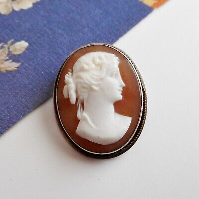 Vintage Antique 900 Silver Metal Carved Shell Cameo Brooch or Pendant