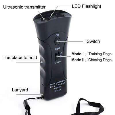 New Ultrasonic Anti Dog Barking Trainer LED Light Gentle Chaser US Stock