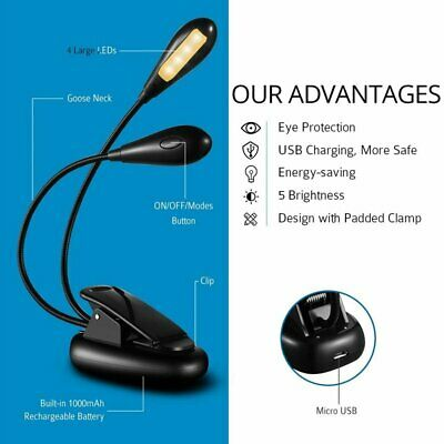 Portable Travel LED Clamp Reading USB Book Light Dual-Head Eye-Care Lamp For Bed