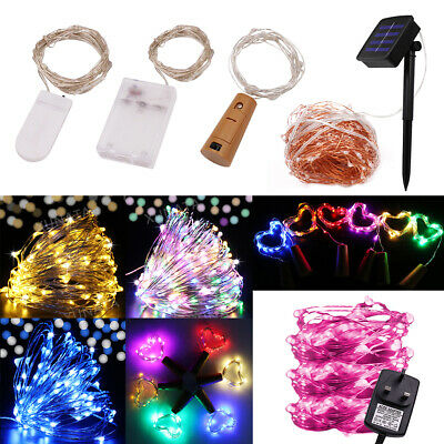 LED Fairy String Lights 20/50/100 Battery/Solar Micro Rice Wire Party Xmas Decor