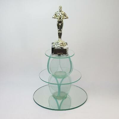 7-inch Tiered Glass Display Stand Balanced Circles Centrepiece w/ Mirror Base