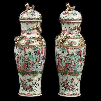 China 19. Siglo a Pair de Chino Canton Famille Rosa Vases Qing Daoguang Chinois