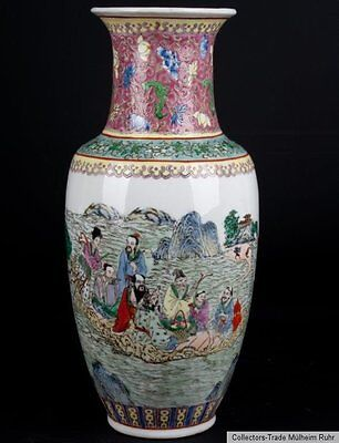 China 20. Siglo a Chino Famille Rosa Baluster Florero - Vaso Cinese Chinois - 八仙