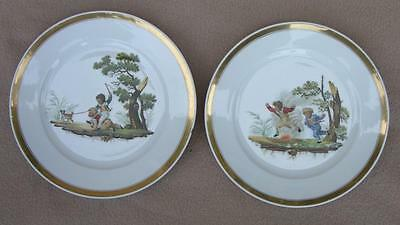 "Pair Antique Georgian Paris Nursery Porcelain Hand Painted Plates ""Playing Boys"""