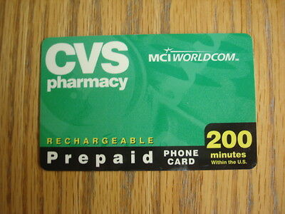 CVS Pharmacy 200 Minutes Collectible Expired MCI Prepaid Phone Card, NO VALUE