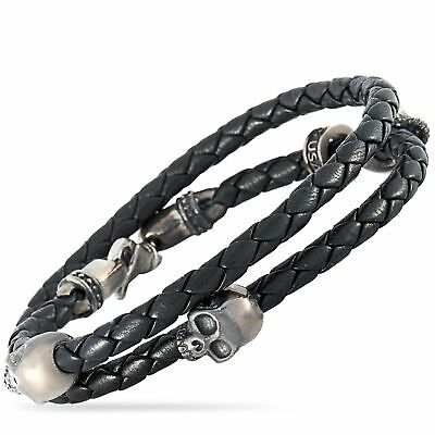 King Baby Sterling Silver and Black Leather Three Hamlet Skull Bracelet
