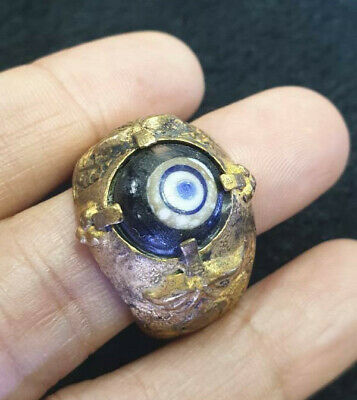 Antique Seeing Eye Roman Glass Greek Protection Gold Plated Sterling Silver Ring
