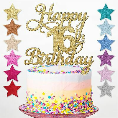 Happy 16th Glitter Birthday Party Cake Topper Sixteen Decoration Daughter Son