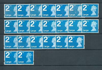 UK/GB unfranked postage stamps,no gum! 22x 2nd class LARGE off paper