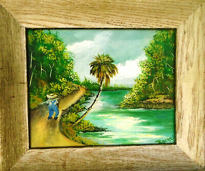 Framed Highwaymen StyleTribute Painting by Rochelle Walking On River Road