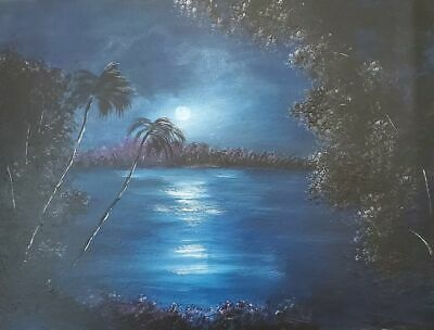 Original Florida Highwaymen Style Painting by Rochelle Moonlight on the River