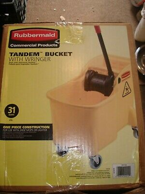 *BRAND NEW* Rubbermaid Tandem Mop Bucket With Wringer 31 Quarts  Yellow