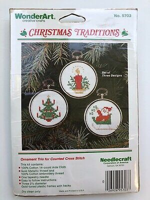 WonderArt Christmas Traditions Counted Cross Stitch Ornament Kit - 3 Designs