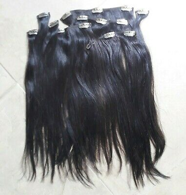 "14"" CLIP-IN HUMAN HAIR EXTENSIONS, Dark Brown, Full Head, 100% Remy Human Hair"