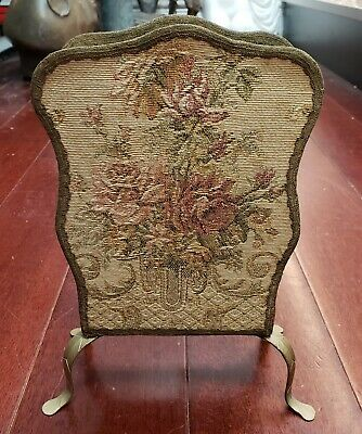 Late 19th Century English Victorian Floral Tapestry Gilded Metal Letter Rack