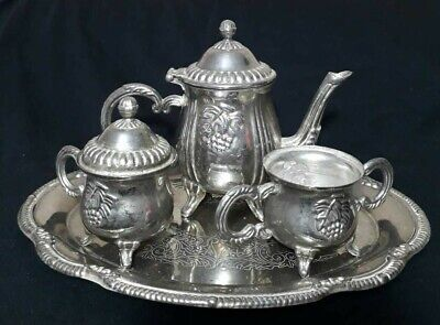 vintage silver plated 4 pc set tea coffee 4 piece footed bowl engraved tray