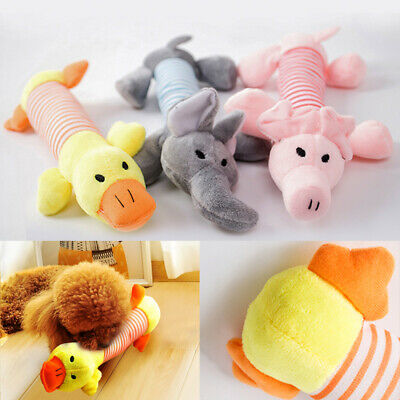 Funny Soft Pet Puppy Chew Play Squeaker Squeaky Cute Plush Sound Dog Toy XMAS UK