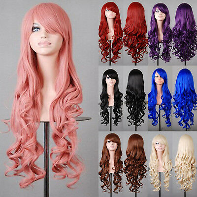 Women Long Hair Full Wig Anime Curly Wavy Hair Wigs Party Costume Cosplay Girls