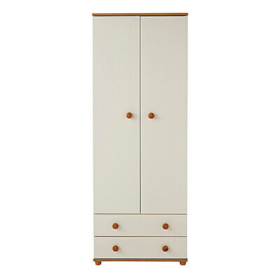 Cambridge Oak and Ivory Melamine Double Wardrobe with 2 Drawers and 2 Doors