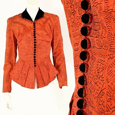50s Vintage Orange Novelty Print Peplum Top Velvet Collar Victorian Womens XS