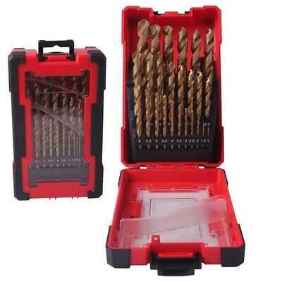 DRILLFORCE 25PCS HSS-CO Cobalt Drill Bit For Hardened Metal Woodworking Drilling