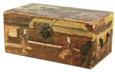 Antique Chinese Pigskin Painted Coromandel Chinoiserie Small Travel Trunk Chest