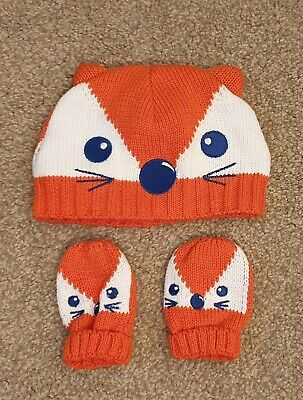 Mini Club Knitted Fox Hat & Mittens Set 3-6 Months Excellent Condition