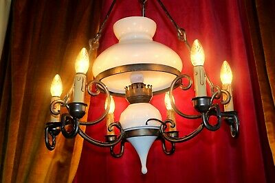 Large Antique French Wooden Rustic Chandelier  Ceiling Lights Lamps Chateau
